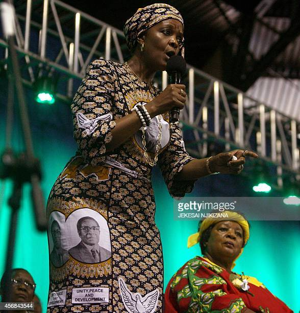 Zimbabwe's first lady Grace Mugabe speaks during a campaign meeting at the City Sports Center in Harare on October 8 2014 Mugabe who was endorsed to...