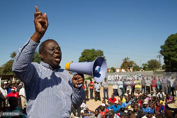 Zimbabwe's main opposition party Movement for Democratic ChangeTsvangirai leader Morgan Tsvangirai addresses supporters during a 'No Reforms No...
