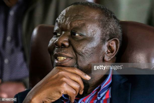 Zimbabwe's Movement for Democratic Change leader Morgan Tsvangirai speaks during a press conference on November 16 2017 in Harare Zimbabwean...