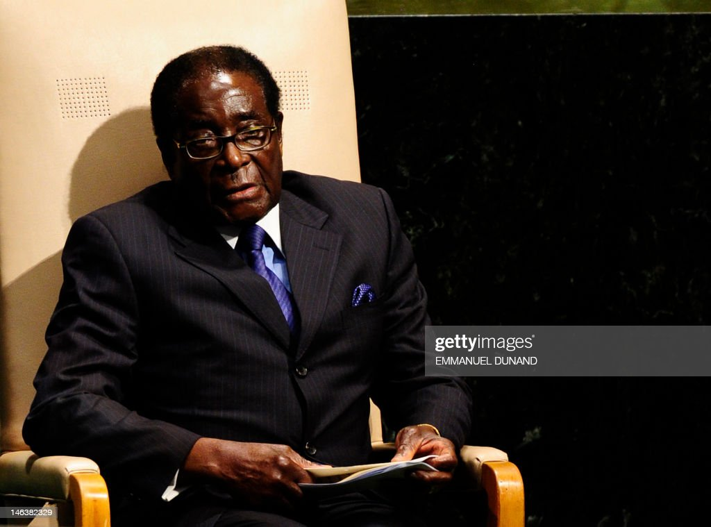 Zimbabwe's President Robert Mugabe waits to address the 65th General Assembly at the United Nations headquarters in New York, September 24, 2010. AFP PHOTO/Emmanuel Dunand /