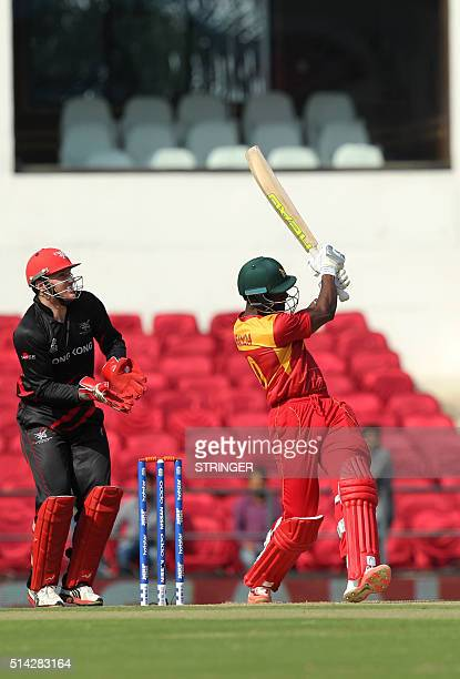 Zimbabwe's Vusi Sibanda plays a shot during the opening match of the T20 Cricket World Cup in the Indian town of Nagpur on March 8 2016 / AFP /...