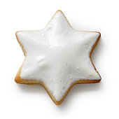 Zimtstern , homemade christmas cookie isolated on white background