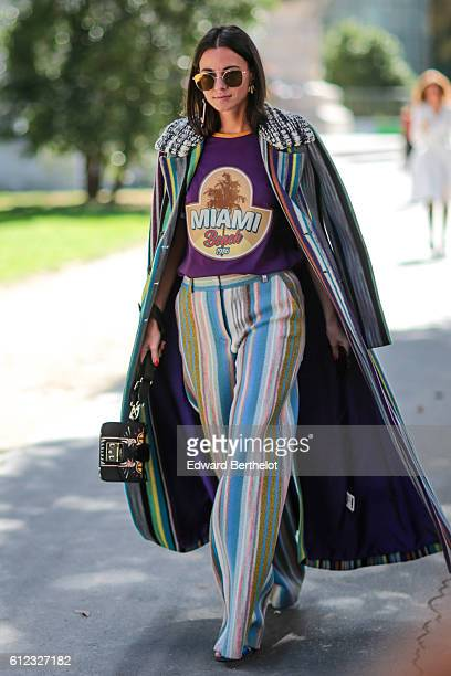 Zina Charkoplia is seen outside of the Giambattista Valli show during Paris Fashion Week Spring Summer 2017 at Grand Palais on October 3 2016 in...