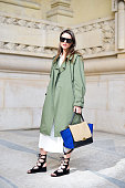 Zina Charkoplia poses wearing a Zara jacket Reiss skirt Chloe shoes and Celine bag on Day 5 of Paris Fashion Week Womenswear FW15 on March 7 2015 in...