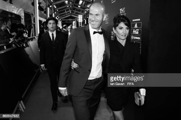 Zinadine Zidane and his wife Veronique Zidane arrives on the green carpet for The Best FIFA Football Awards at The London Palladium on October 23...