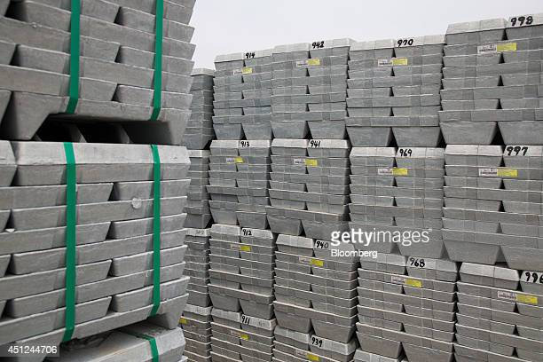 Zinc ingots sit stacked at the Public Procurement Service warehouse in Gunsan South Korea on Wednesday June 25 2014 South Korea is scheduled to...