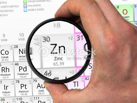 Smbolo de zinc elemento de la tabla peridica con magn ampliado smbolo de zinc elemento de la tabla peridica con magn ampliado foto de stock urtaz Images