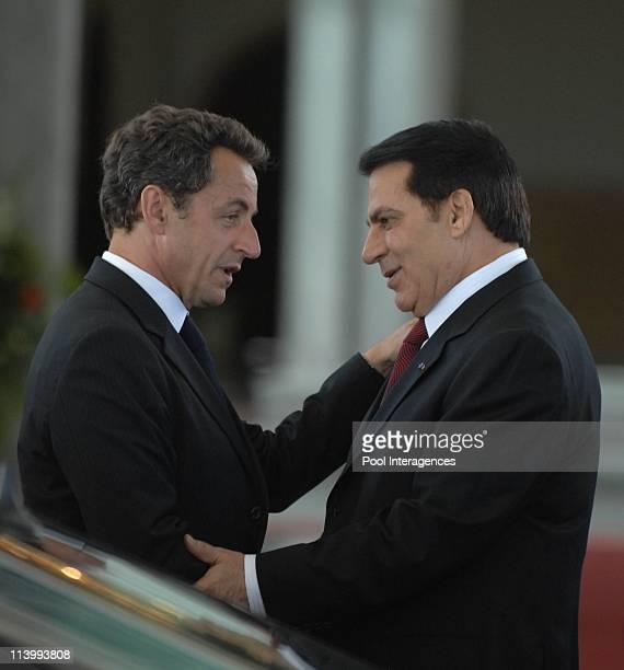 Zine el Abidine Ben Ali welcomes Nicolas Sarkozy In Tunis Tunisia On July 10 2007Tunisia President Zine el Abidine Ben Ali welcomes French President...