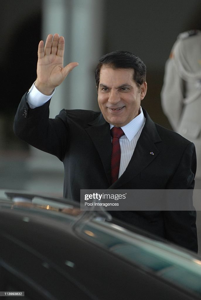 Zine el Abidine Ben Ali welcomes Nicolas Sarkozy In Tunis, Tunisia On July 10, 2007-Tunisia President Zine el Abidine Ben Ali welcomes French President Nicolas Sarkozy at Carthage Palace.