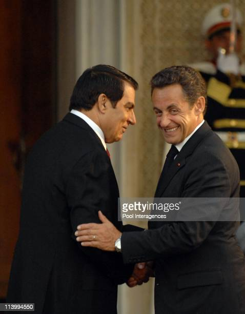 Zine el Abidine Ben Ali welcomes Nicolas Sarkozy In Tunis Tunisia On July 10 2007Zine el Abidine Ben Ali and Nicolas Sarkozy Tunisia President Zine...