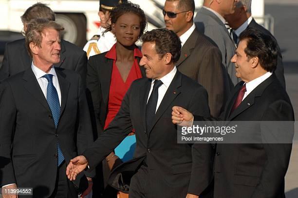 Zine el Abidine Ben Ali welcomes Nicolas Sarkozy In Tunis Tunisia On July 10 2007Bernard Kouchner Rama Yade Nicolas Sarkozy and Zine el Abidine Ben...