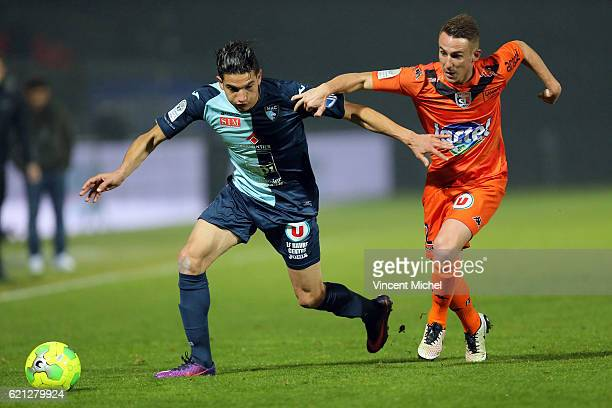 Zinedine Ferhat of Le Havre and Kevin Perrot of Laval during the Ligue 2 match between Stade Lavallois and Le Havre AC on November 4 2016 in Laval...