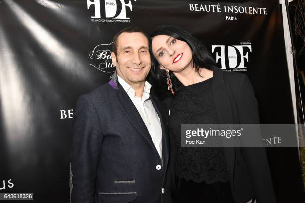 Zinedine Soualem and Sylvie Ortega Munosl attend FDF Magazine Launch Party at Hotel Christian Dior on February 21 2017 in Paris France