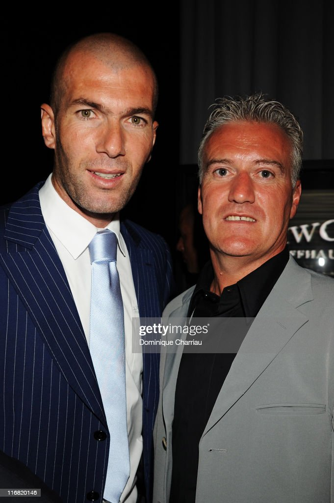 Zinedine Zidane and Didier Deschamps attend the Launch Party for the Ingenieur Automatic Edition Zinedine Zidane watch, held at Palais de Chaillot, on June 16, 2008 in Paris, France.