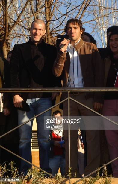 Zinedine Zidane and Raul during Zinedine Zidane And Raul become Godfathers of ELA ESPAÑA at Liceo Frances in Madrid Spain