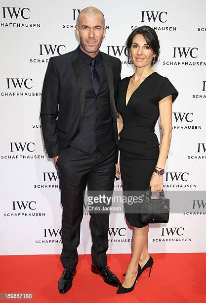 Zinedine Zidane and Veronique Zidane attend the IWC Schaffhausen Race Night event during the Salon International de la Haute Horlogerie 2013 at...
