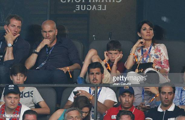 Zinedine Zidane his younger son Elyaz Zidane and his wife Veronique Zidane attend the UEFA Champions League Final between Juventus Turin and FC...