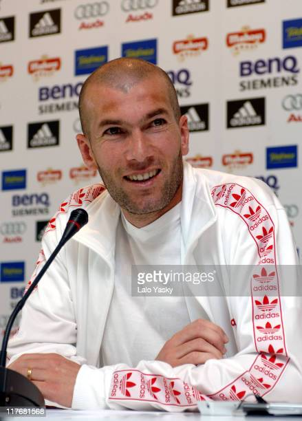 Zinedine Zidane holds a press conference on April 26 2006 in Madrid Spain announcing his retirement after the 2006 World Cup in Germany
