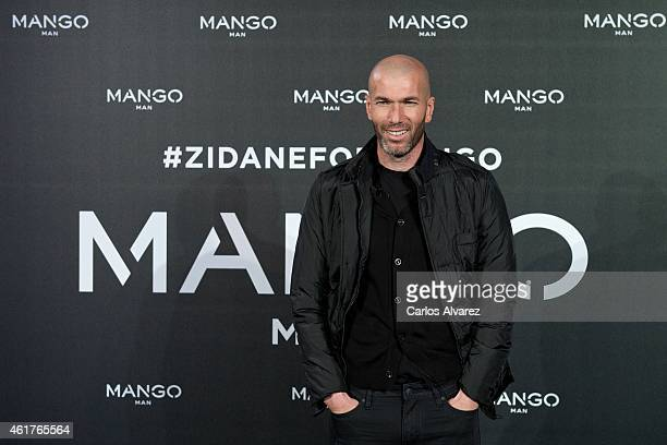 Zinedine Zidane is presented as the new face of Mango at the Camera Studio Plato on January 19 2015 in Madrid Spain