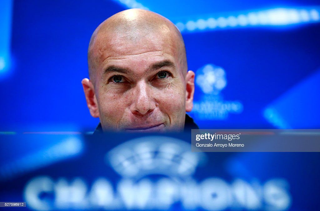 <a gi-track='captionPersonalityLinkClicked' href=/galleries/search?phrase=Zinedine+Zidane&family=editorial&specificpeople=172012 ng-click='$event.stopPropagation()'>Zinedine Zidane</a>, Manager of Real Madrid faces the media during a press conference ahead of the UEFA Champions League Semi Final Second Leg between Real Madrid and Manchester City at Valdebebas training ground on May 3, 2016 in Madrid, Spain.