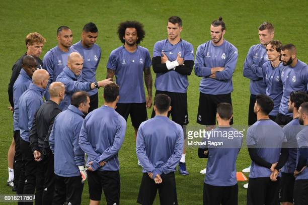 Zinedine Zidane Manager of Real Madrid gives his team instructions during a Real Madrid training session prior to the UEFA Champions League Final...