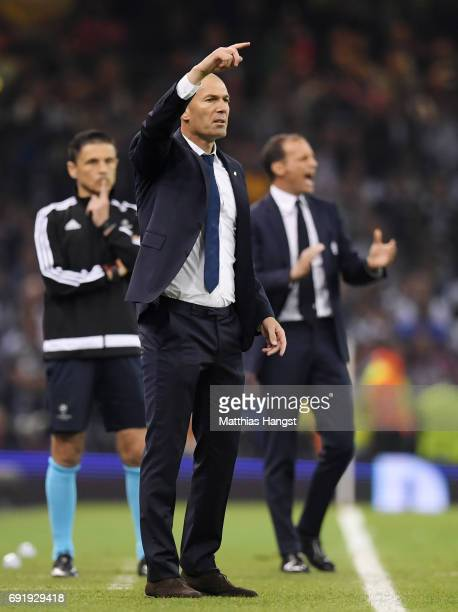 Zinedine Zidane Manager of Real Madrid gives his team instructions during the UEFA Champions League Final between Juventus and Real Madrid at...