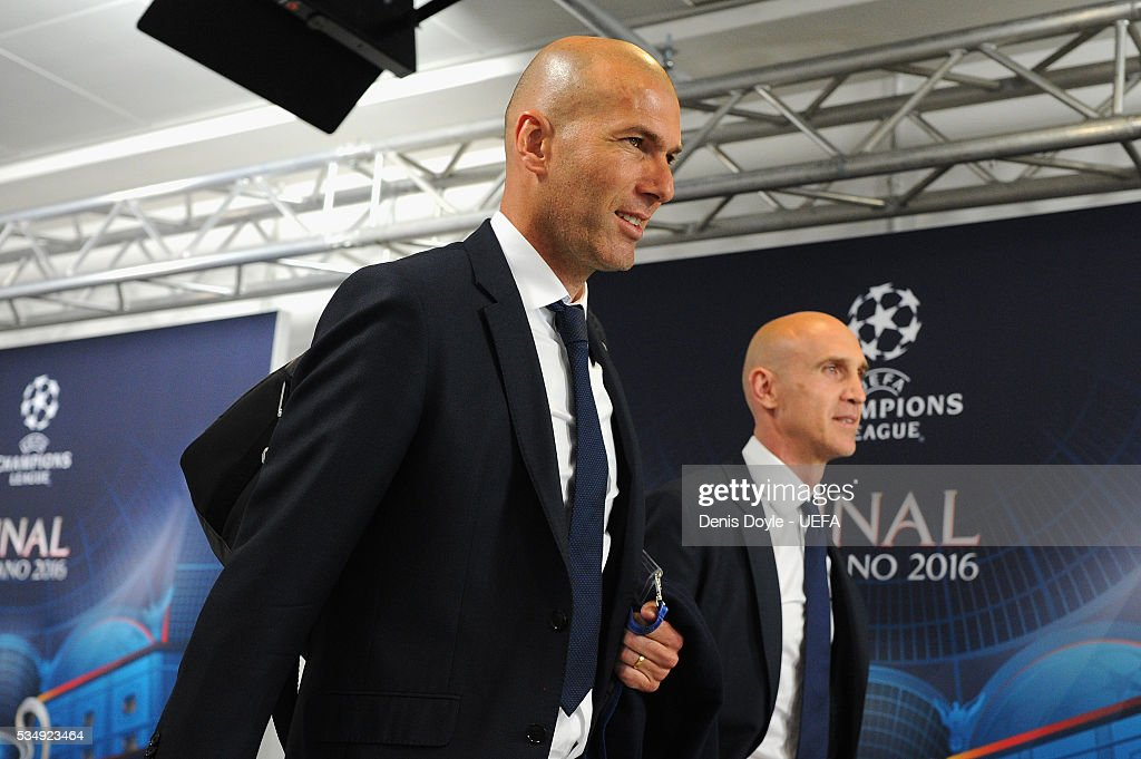 Zinedine Zidane manager of Real Madrid is seen on arrival at the stadium prior to the UEFA Champions League Final between Real Madrid and Club Atletico de Madrid at Stadio Giuseppe Meazza on May 28, 2016 in Milan, Italy.