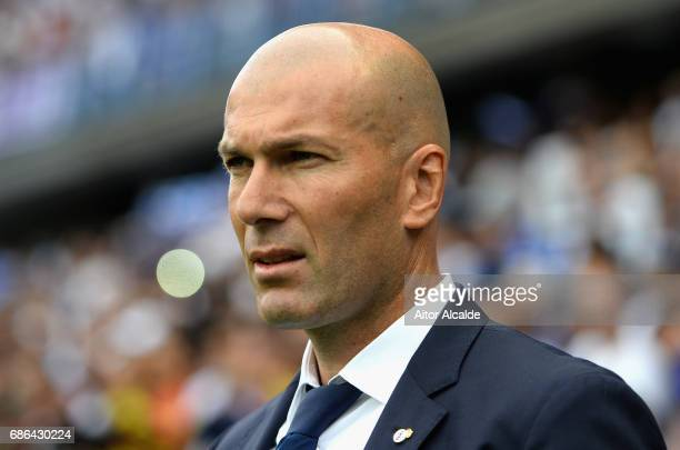 Zinedine Zidane Manager of Real Madrid looks on during the La Liga match between Malaga and Real Madrid at La Rosaleda Stadium on May 21 2017 in...