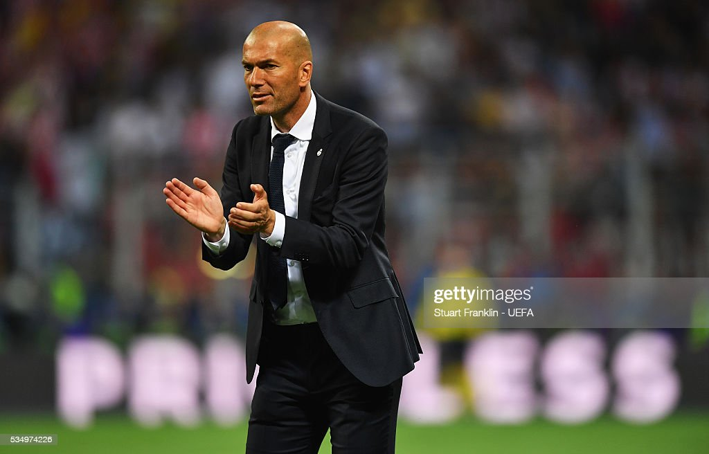 Zinedine Zidane manager of Real Madrid looks on during the UEFA Champions League Final between Real Madrid and Club Atletico de Madrid at Stadio Giuseppe Meazza on May 28, 2016 in Milan, Italy..