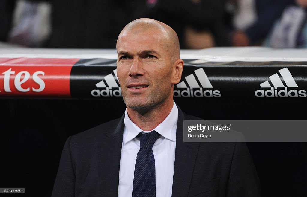 <a gi-track='captionPersonalityLinkClicked' href=/galleries/search?phrase=Zinedine+Zidane&family=editorial&specificpeople=172012 ng-click='$event.stopPropagation()'>Zinedine Zidane</a> manager of Real Madrid looks on prior to the La Liga match between Real Madrid CF and RC Deportivo La Coruna at Estadio Santiago Bernabeu on January 9, 2016 in Madrid, Spain.