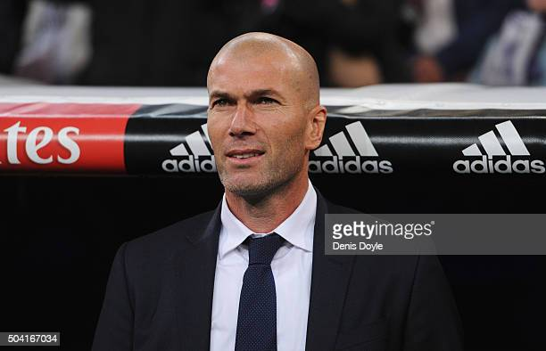 Zinedine Zidane manager of Real Madrid looks on prior to the La Liga match between Real Madrid CF and RC Deportivo La Coruna at Estadio Santiago...