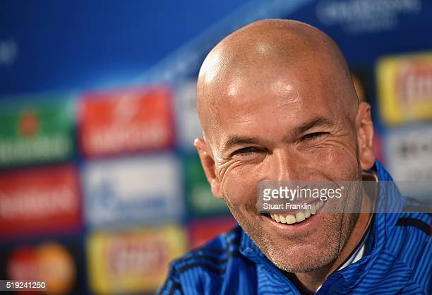 Zinedine Zidane manager of Real Madrid smiles during a Real Madrid press conference ahead of their UEFA Champions League quarter final first leg...