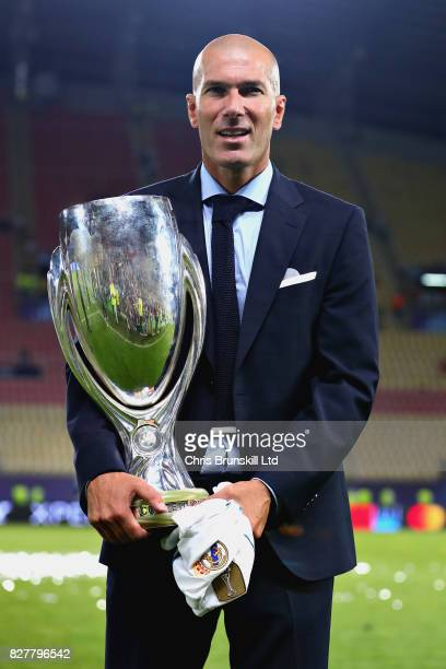 Zinedine Zidane Manager of Real Madrid with the trophy after the UEFA Super Cup match between Real Madrid and Manchester United at National Arena...