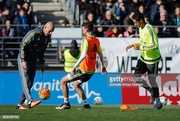 Zinedine Zidane newly appointed manager of Real Madrid in action with players during a Real Madrid training session at Valdebebas training ground on...