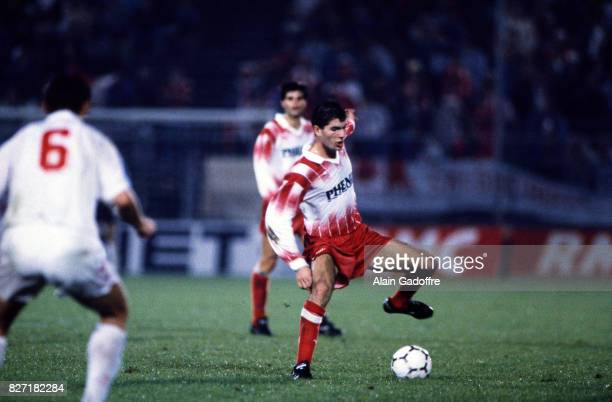 Zinedine Zidane of Cannes during the UEFA Cup match between AS Cannes and SC Salgueiros in Cannes France on October 3 1991