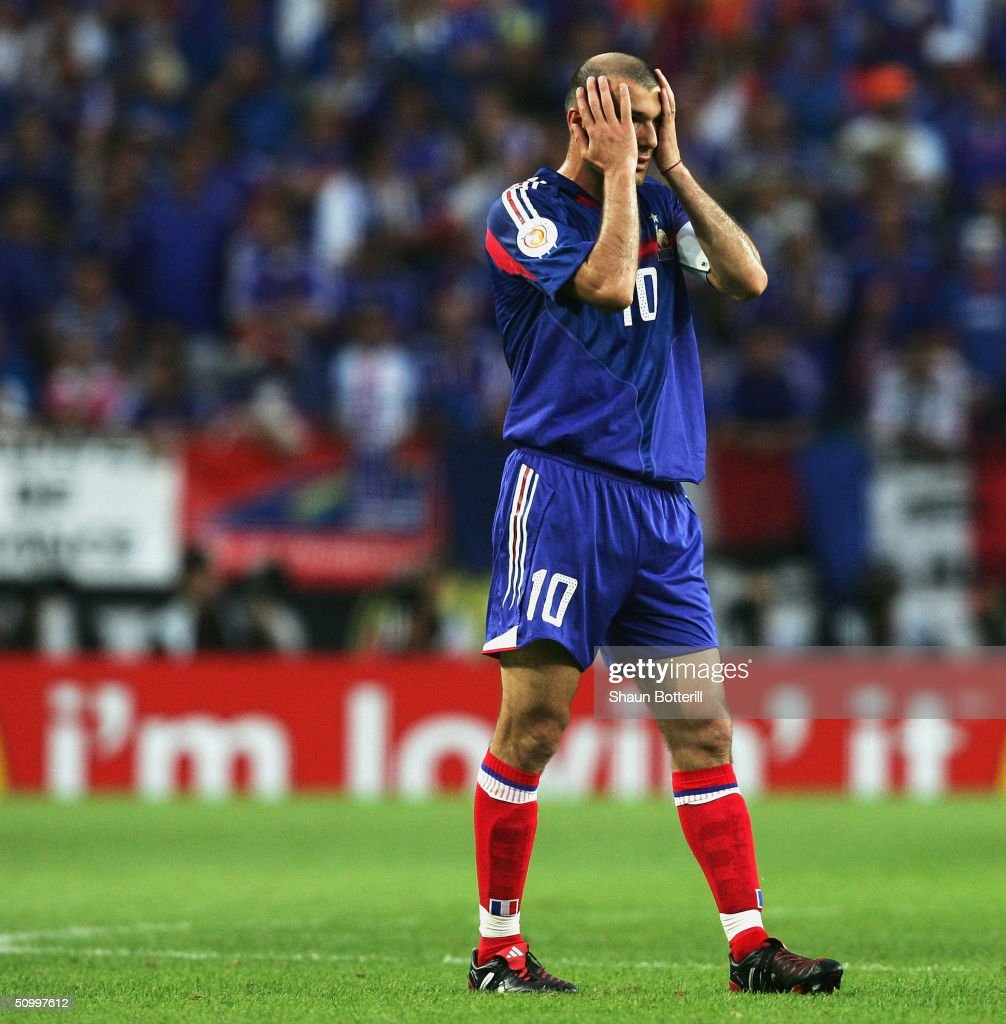 Zinedine Zidane of France looks dejected during the UEFA Euro 2004 Quarter Final match between France and Greece at the Jose Alvalade Stadium on June 25, 2004 in Lisbon, Portugal.