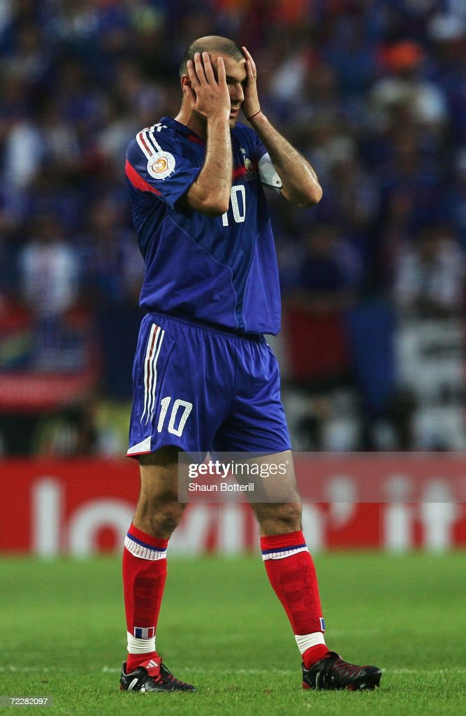 Zinedine Zidane of France looks dejected during the UEFA Euro 2004 Quarter Final match between France and Greece at the Jose Alvalade Stadium on June...