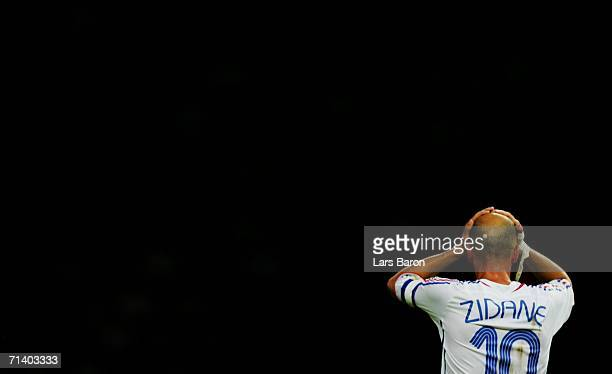 Zinedine Zidane of France reacts during the FIFA World Cup Germany 2006 Final match between Italy and France at the Olympic Stadium on July 9 2006 in...