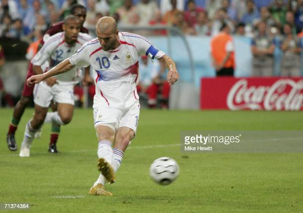 Zinedine Zidane of France scores the opening goal from the penalty spot during the FIFA World Cup Germany 2006 Semifinal match between Portugal and...