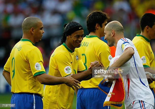 Zinedine Zidane of France shakes hands with Ronaldinho and Ronaldo of Brazil during the FIFA World Cup Germany 2006 Quarterfinal match between Brazil...