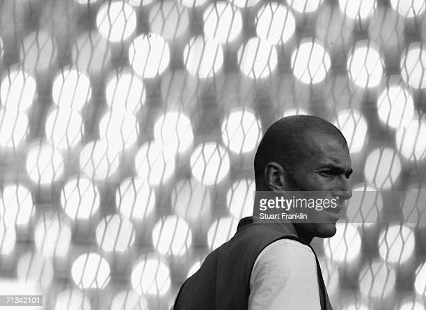 Zinedine Zidane of France takes a break during the France National Football Team training session for the FIFA World Cup Germany 2006 at the FIFA...
