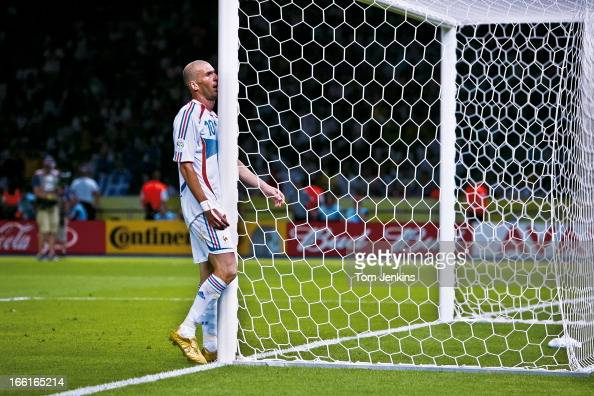 Zinedine Zidane of France walks straight into a goalpost as he shows frustration in extratime during the 2006 FIFA World Cup Final France versus...