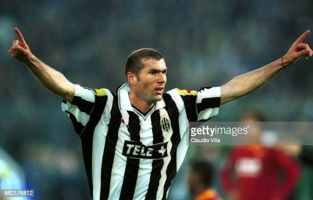 Zinedine Zidane of Juventus celebrating after the goal during the SERIE A 29th Round League match between Juventus and Roma played at the Delle Alpi...