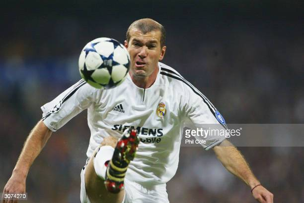 Zinedine Zidane of Real Madrid during the UEFA Champions League match between Real Madrid and Bayern Munich at The Bernabeu on march 10 2004 in...