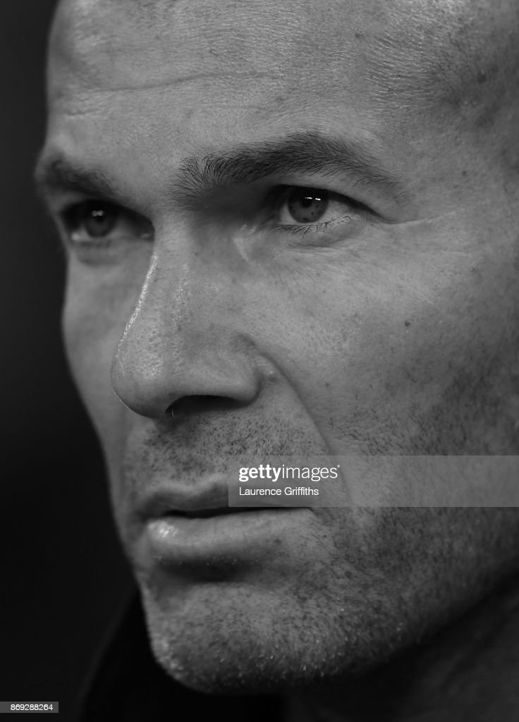 Zinedine Zidane of Real Madrid looks on during the UEFA Champions League group H match between Tottenham Hotspur and Real Madrid at Wembley Stadium on November 1, 2017 in London, United Kingdom.