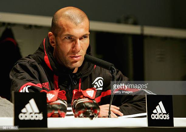 Zinedine Zidane speaks to the media during the Adidas press launch of the new Predator Football boot on November 7 2005 in Las Rozas Madrid