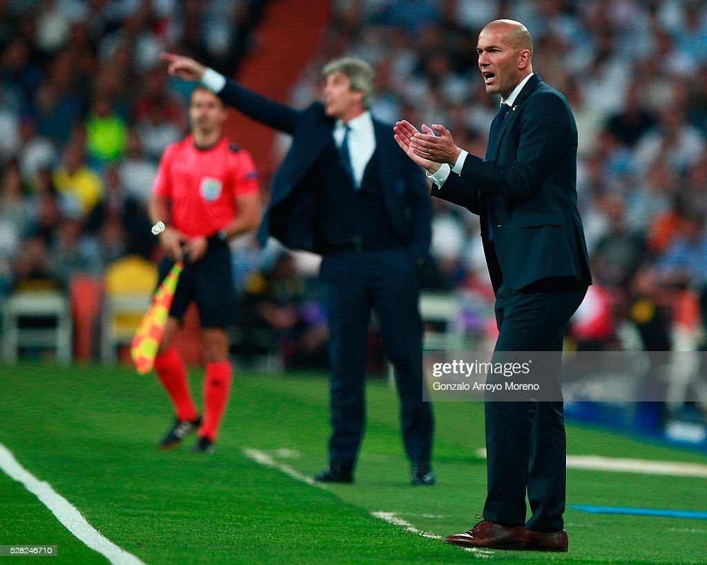 <a gi-track='captionPersonalityLinkClicked' href=/galleries/search?phrase=Zinedine+Zidane&family=editorial&specificpeople=172012 ng-click='$event.stopPropagation()'>Zinedine Zidane</a> the head coach of Real Madrid reacts during the UEFA Champions League semi final, second leg match between Real Madrid and Manchester City FC at Estadio Santiago Bernabeu on May 4, 2016 in Madrid, Spain.