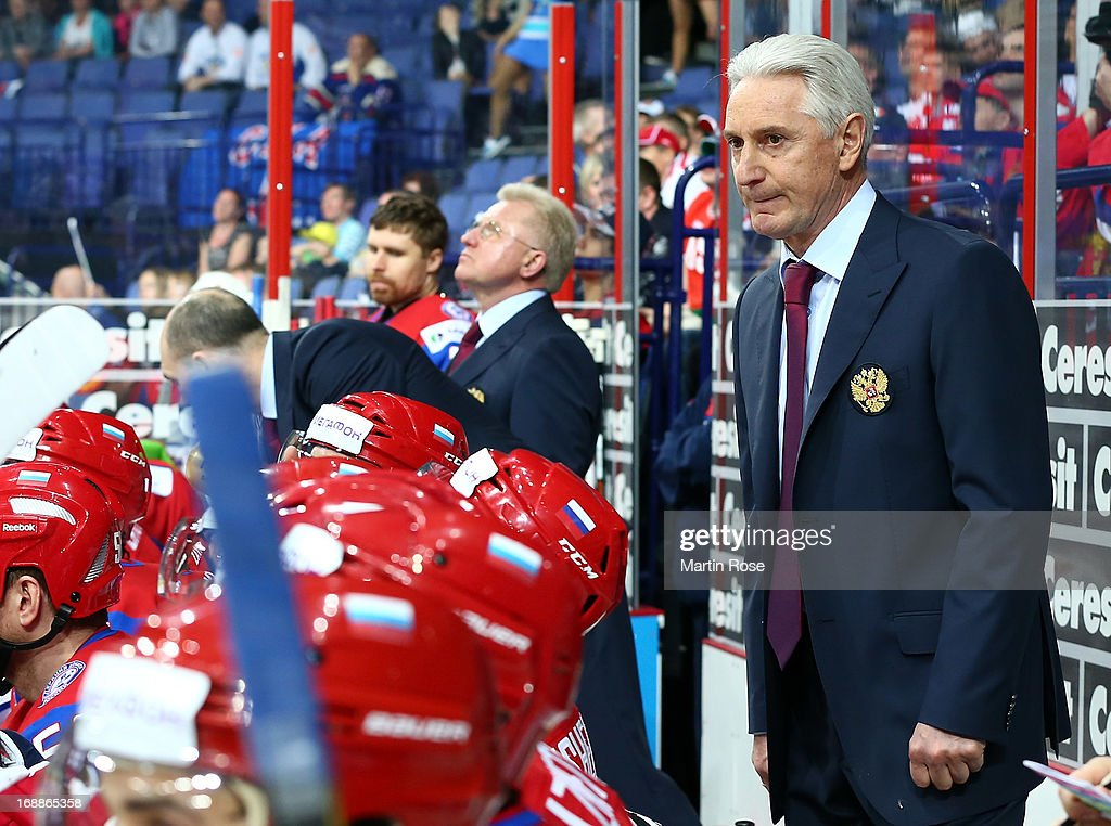 Zinetula Bilyaletdinov, head coach of Russia reacts during the IIHF World Championship quarterfinal match between Russia and USA at Hartwall Areena on May 16, 2013 in Helsinki, Finland.