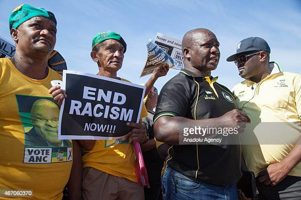 Zing Mthini competent of African National Congress and supporters of ANC protest against racism in Worcester city of Western Cape South Africa on...