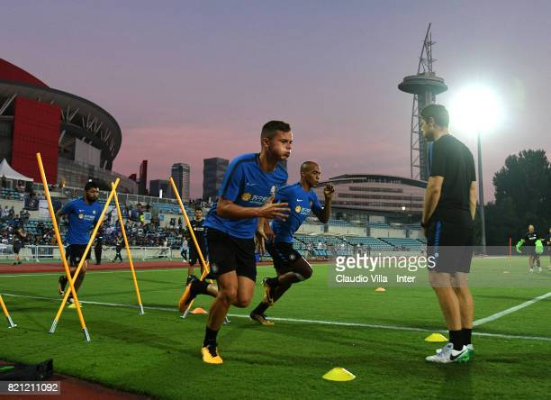 Zinho Vanheusden in action during a FC Internazionale training session on July 23 2017 in Nanjing China